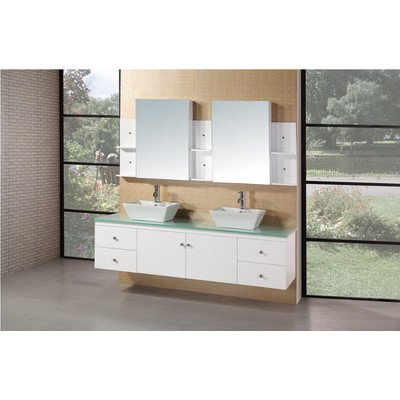 Design Element 71.75-Inch W x 22-Inch D x 22-Inch H Vanity with Tempered Glass Vanity Top and Mirror, Aqua Green