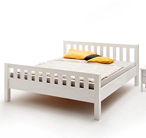 Vaja Massivholz Bett Buche weiß lackiert mit Kopf- und Fußteil 140x200