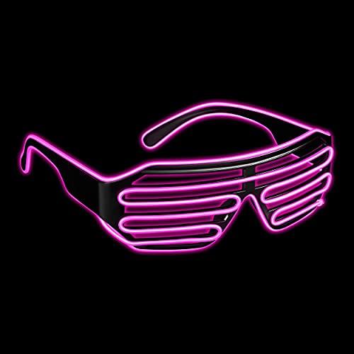 Balinco LED Brille mit 3 Blitzmodi - perfekt geeignet als Techno DJ   Festival   Halloween   Karneval   Fasching als Ergänzung zum Horror Kostüm (Pink)