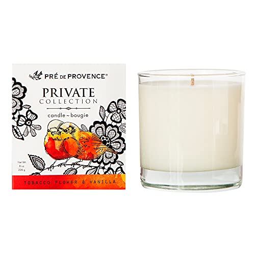 Pre de Provence Private Collection, Candle, 8 Ounce, Tobacco Flower & Vanilla