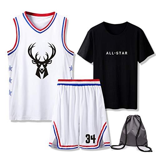 Jersey de baloncesto 3 juegos con bolsa – Milwaukee Bucks Giannis Antetokounmpo # 34 Jersey (parte superior/camiseta/pantalones cortos), All Star Alphabet Brother Swingman Jersey