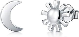 925 Sterling Silver Stud Earrings, BoRuo Crescent Moon High Polish Tarnish Resistant Earrings