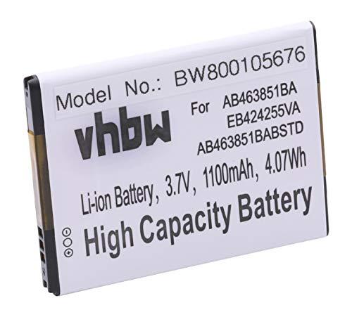 vhbw Batería Compatible con Samsung Star 3 III Duos GT-S5222, Star 3 III GT-S5220 móvil, Smartphone (1100mAh, 3,7V, Li-Ion)