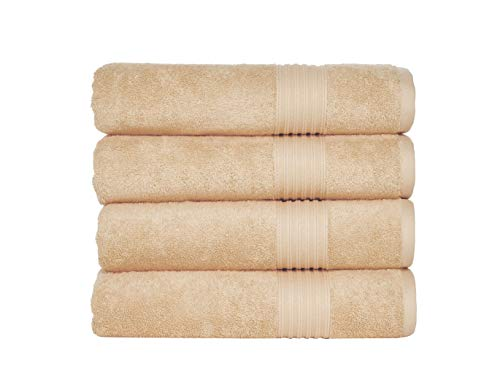 Peshkul Turkish Bathroom Towels, Best Bath Towels Used by Spa& Luxury Hotel   100% Cotton 27x54  Set of 4 Soft Bath Towels for Bathrooms   Super Absorbent   Made in Turkey (Sand Beige)