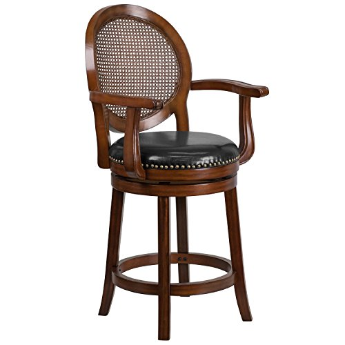 Flash Furniture 26'' High Expresso Wood Counter Height Stool with Arms, Woven Rattan Back and Black Leather Swivel Seat,