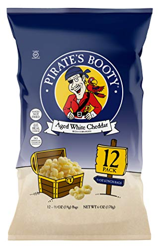 Pirate's Booty Aged White Cheddar Cheese Puffs, 12ct, 0.5oz Snack Size Bags, Gluten Free, Cheese Snacks, Healthy Snacks