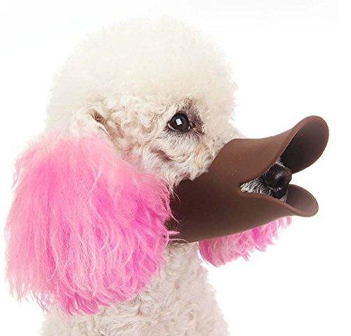 Bozal para perros con forma de pico de pato, antimordeduras y antiladridos, de silicona