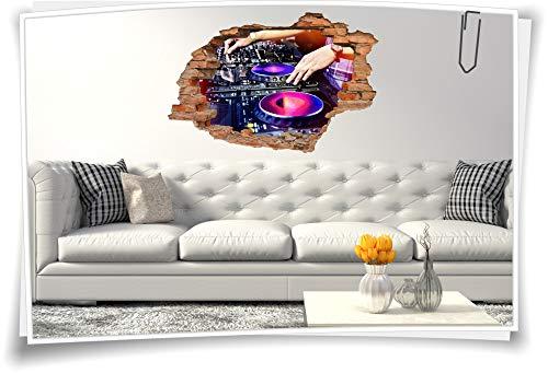 Medianlux 3D Wand-Bild Wand-Tattoo Wand-Aufkleber DJ Musik Mischpult Party Event Disko, 150x100cm