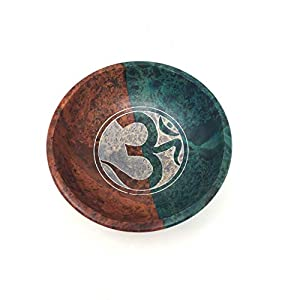 vrinda Soapstone Scrying/Smudge Bowl, Colored Om