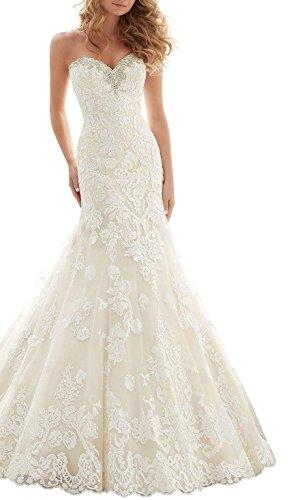 Baixia Kristall Meerjungfrau Spitze Hochzeitskleid Trompete Braut Kleid Elfenbein 36