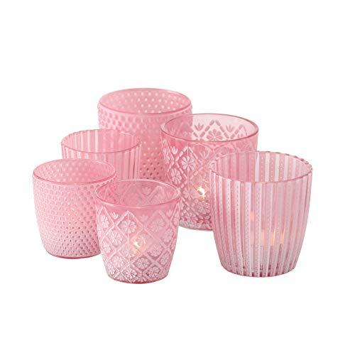 Boltze 6 x Windlicht Patty pink Höhe 7-9 cm mit Muster für Teelichter Tischdeko Teelichthalter Romantisch