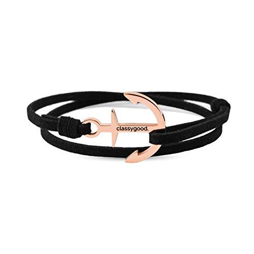 classygood. Anker Armband Classy Bracelet roségold & Silber, Leder-Band schwarz für Damen/Herren (roségold)