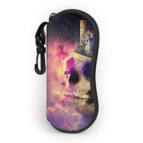 Funda de gafas con cremallera Universo Cosmos Skull Castle Stars Anti-Scratch Portátil Viaje Suave Caso para Hombres y Mujeres