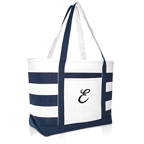 DALIX Premium Beach Bags Striped Navy Blue Zippered Tote Bag Monogrammed E