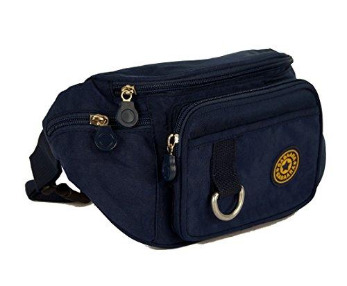 Damen Hüfttasche Jogging Urlaub Lauftasche Bag Outdoor Bauchtasche Gürteltasche Nylon Umhängetasche Sporttasche für Damen und Herren 5 Farben (Blau)