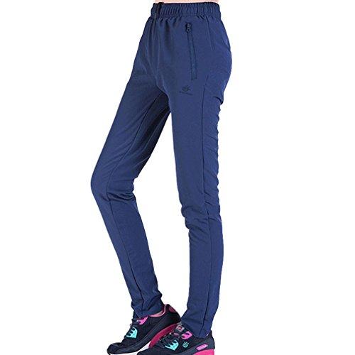 emansmoer Femme Quick Dry Respirant Outdoor Sport Pantalon de Camping randonnée Escalade Léger Longue Élastique Pantalon (X-Large, Bleu)