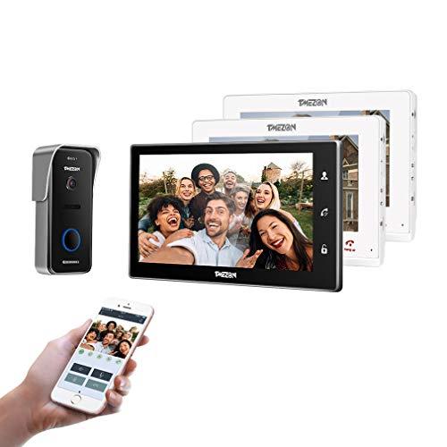 TMEZON WiFi videoportero intercomunicador Timbre Sistema de intercomunicación, Monitor WiFi de 10 Pulgadas con cámara Exterior con Cable (3M1C), Pantalla táctil, Control Remoto, desbloqueo de App