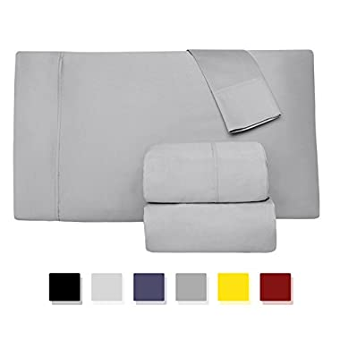 Comfy Sheets 800 Thread Count 100% Cotton Sheet Set, Silver Queen Sheets 4 Piece Set, Long-staple Combed Pure Natural Cotton Bedsheets, Soft & Silky Sateen Weave by