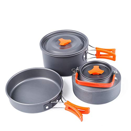 Outdoor Camping Cookware, Portable Cooking Pannen Sets Pan 1.1L Kettle 2.0L Pot driedelig pak