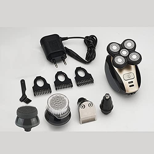 YLWL Maquinilla de Afeitar eléctrica 4D de 5 Cabezas para Hombre, Cuchilla de Afeitar Flotante, afeitadora eléctrica, Impermeable, Recargable