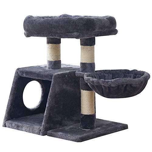 IBUYKE 58cm Kratzbaum Wohnungm it Sisalstämmen Katzenturm mit Luxus Großer Plattform, 1 Spielhaus und 1 Korb,Kätzchen Hausmöbel Bäume Rauchgrau CT001G