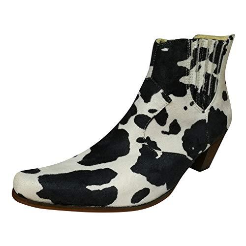Oksea Damen Wildleder Stiefel Optik Mode Große Damen Zebramuster Dick mit Stiefeletten Mode Plus Size Spitzschuh Leder Animal Print Chunky Heel Booties
