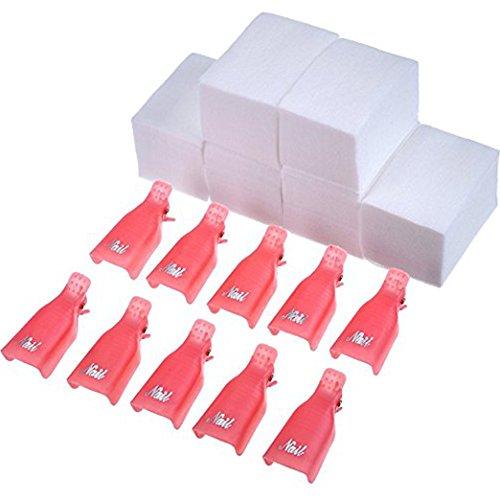 Nagel Kappe Klammer UV Gel Polieren Remover Wickeln 10 Stück mit 420 Stück Nagel Wischen Baumwolle Pads (Rosa)