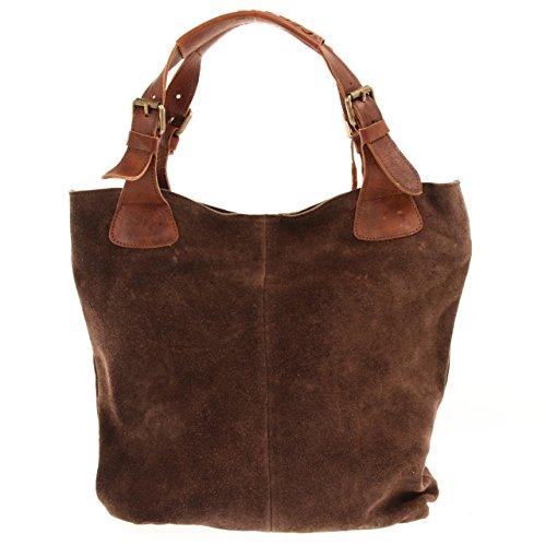 LECONI Henkeltasche Echt-Leder Wildleder Damentasche Handtasche für Damen Shopper für Freizeit, Büro oder Shopping Beuteltasche Frauen Ledertasche Veloursleder 34x35x10cm dunkelbraun LE0033-V