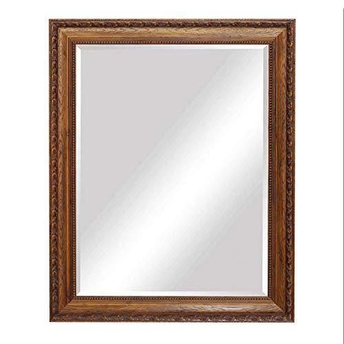 Badkamer spiegel Grote Rechthoekige - Barok Stijl Wandspiegel | Wandmontage Houten Frame Make-up Spiegel (Rood gesneden, 70x90 cm)