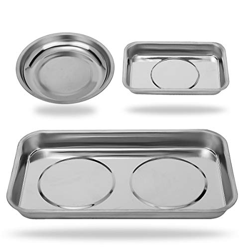 VASTOOLS Magnetic Tray Holder 3pc / Stainless Steel/for Socket Screw Nuts Bolts Metal Parts/Extra Strong Magnet, Thickened Tray