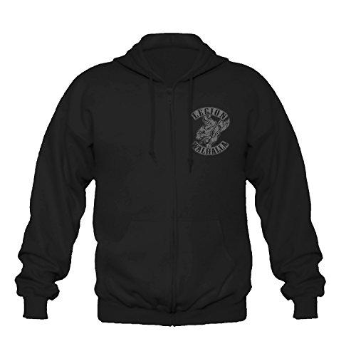 P-T-D Wikinger Viking Oldschool Norwegen schwarz Kapuzenjacke Jacke Sweatjacke (2XL)