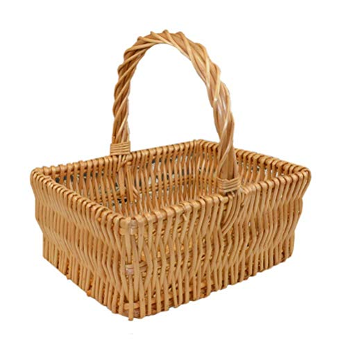 Rattan Willow Wicker Vegetable Basket Storage Basket Gift Basket Hand Basket Fruit Blue, Woven Basket Picnic Basket Can Also be Used to Store Sundries (Size : Large)