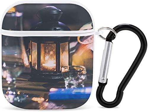 Airpod Case Funda para Apple AirPods 2 y 1 Iluminación Airpod Case para Niñas Accesorios de Airpods con llavero (copa de vino transparente cerca de la linterna de vela negra)