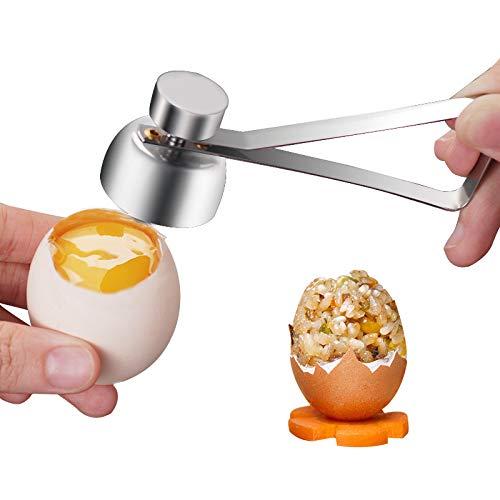 1 pelador de huevo cocido de acero inoxidable con forma de cáscara de huevo cortador de cáscara, abridor de huevo crudo hervido, herramienta abierta para cocina en el hogar