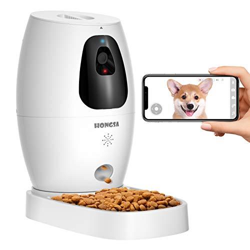 Smart Pet Camera with Treat Dispenser & Tossing, Dog Cat Camera, 2.4G WiFi, 1080P Night Vision Camera, Live Video, 2 Way Audio Communication Designed for Dogs and Cats (HONGSA Pet Camera)