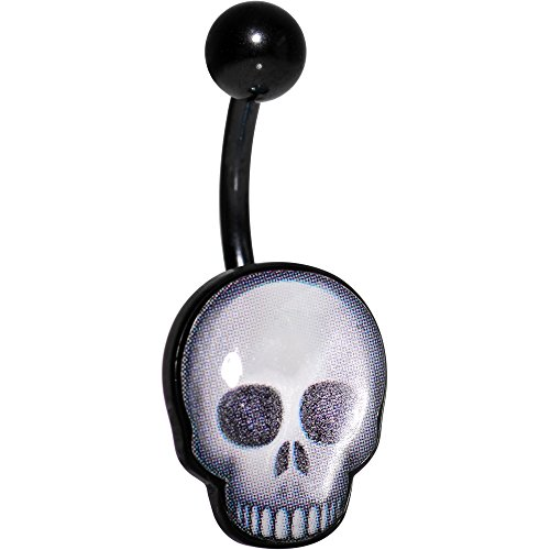 Officially Licensed Skull emoji Black Anodized Steel Belly Ring