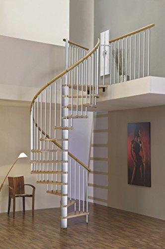 Spindeltreppe/Raumspartreppe/Wendeltreppe Sidney decor silber DM 120 cm