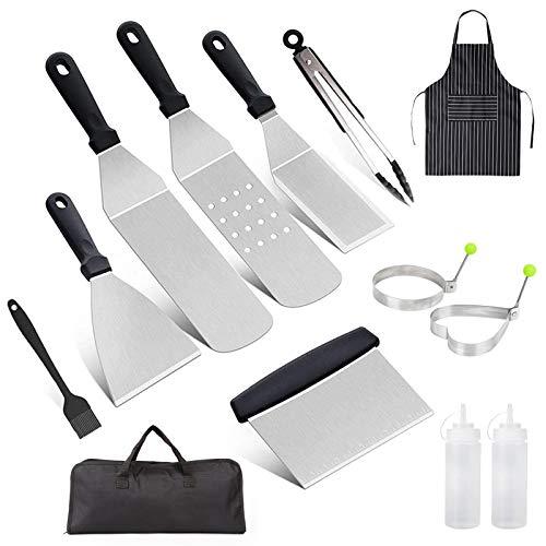 HOTOOLME Grillspachtel Set, Professionelles Grillbesteck, Grillwender BBQ Werkzeugset Edelstahl Grillwerkzeugset mit Aufbewahrungstasche