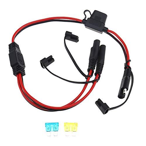 1 bis 2 SAE Steckverbinder Schnellkupplungsstecker SAE Hochleistungsverlängerungs Splitterkabel mit Sicherungshalter 16AWG 15A 20A