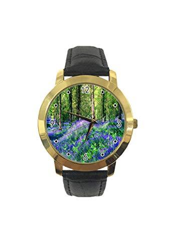 Reloj de pulsera analógico de cuarzo con correa de piel, diseño de bosque ahumado, para hombres y...