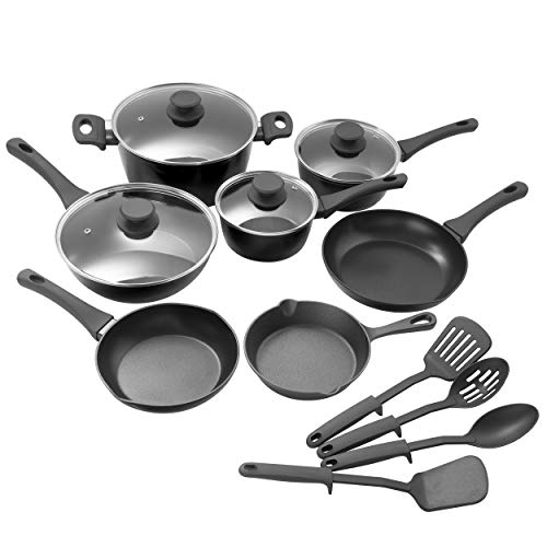 Gibson Elite Soho Lounge Nonstick Forged Aluminum Induction Pots and Pans Cookware Set, 15-Piece, Black