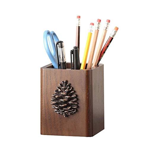 TNSYGSB Lindo titular de la pluma de madera maciza retro maquillaje cepillo escritorio caja de almacenamiento cepillo conjunto