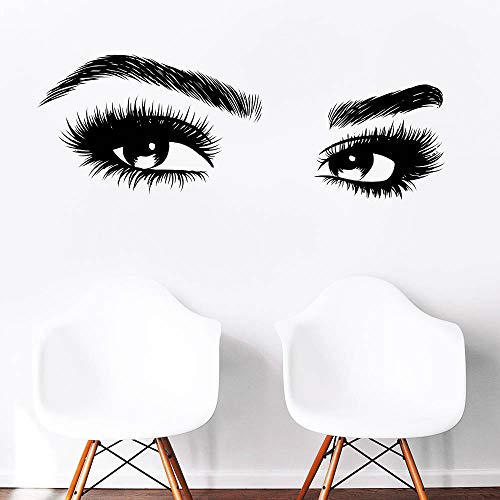 42.5X15.3inches Beauty Salon Eyelashes Quote Wall Decal Stickers Make Up Eye Store Home Decoration Murals (LC464 Black)