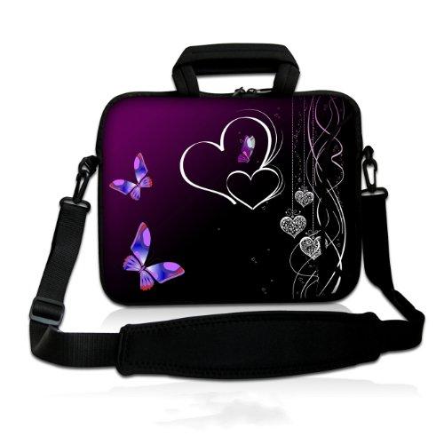wortek Universal Notebooktasche Schutzhülle aus Neopren mit Zusatzfach, Tragegriff & Tragegurt für Laptops bis ca. 15,4 Zoll - Herzen Schwarz Lila