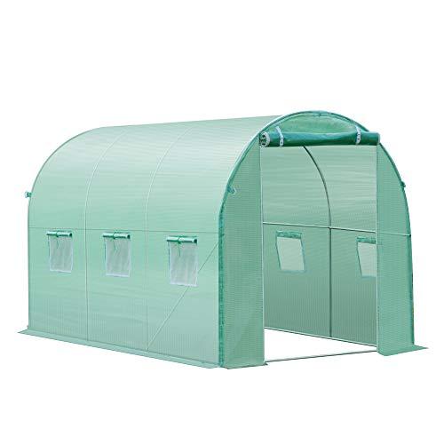 Outsunny Abdeckung für Tunnel-Gewächshaus Abdeckhaube mit 12 Fenster Ersatzfolie Cover für Treibhaus Tomatenhaus PE 3x2x2m