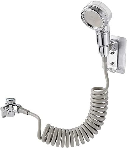 Juego de alcachofa de ducha ajustable con manguera flexible para fregadero de 1,5 metros, ducha, bidé con conexión rápida, perfecto para lavar el cabello, para mascotas o limpiar el lavabo, de acero