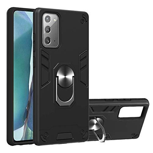 hodudu Carcasa para Galaxy Note 20, ultra delgada de silicona TPU y PC, antiarañazos, con anillo giratorio de 360 grados con función atril para Samsung Galaxy Note 20 de 6.7 pulgadas, color negro