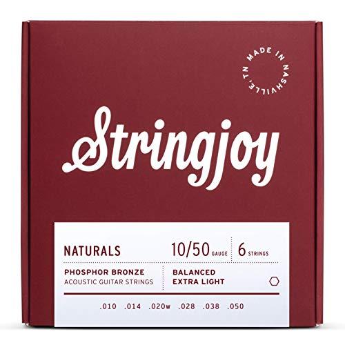 Stringjoy NB1050 Natural Bronze Acoustic Guitar Strings, (Extra Light Gauge - 10-50)