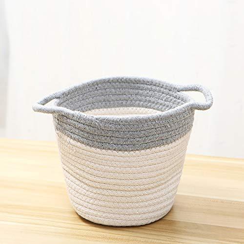 Zhuowei Aufbewahrungskörbe Tejido, Jute-Baumwoll-Aufbewahrungskorb, Bio-Baumwoll-Seil-Aufbewahrungskorb Für Haushaltswaren Kleidung Spielzeug,2