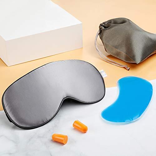 Jia Xing Silk Eye Mask For Sleep Shading Breathable Sleeping To Relieve Eye Fatigue And Ice Pack For Ice Packs eye mask for sleeping (Color : Gray)